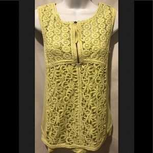 YOANA BARASCHI Anthropologie Lace Vest Sheer Boho